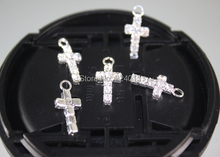 New Cross Pendants Silver Plated Clear Rhinestone Charms Jewelry Finding For Earrings Bracelets Making,50pcs/16*7.5mm
