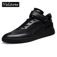 Valstone Quality Men S Genuine Leather Shoes Ankle Board Shoes High Top Flats Strainer Lace Up