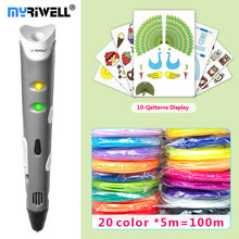 hot deal buy myriwell 3d pen 3d pens,1.75mmabs/pla filament,3 d pen 2018 smartchild birthday present,3d print pen3d model