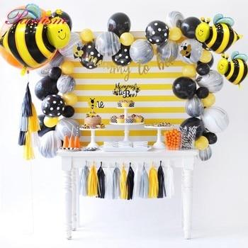 1 세트 사랑스러운 꿀벌 시리즈 케이크 토퍼 베이비 샤워 엄마 꿀벌 종이 배너 꿀벌 풍선 아이 선물 생일 파티 장식