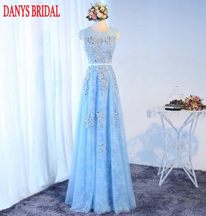 Sky Blue Long Lace Evening Dresses Party Tulle Beaded Beautiful Women Prom Formal Evening Gowns Dresses On Sale abendkleider