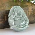 3.5x3cm Natural Grade A Jade , Hand-carved Dark  Green Jade Pendant the laughing Buddha
