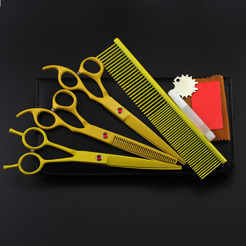 4 kit japan yellow pet 7 inch shears cutting hair scissors dog grooming clipper pets thinning barber comb hairdressing scissors custom high quality japan 7 inch pet dog grooming hair scissors thinning barber grooming scissor shears hairdressing scissors