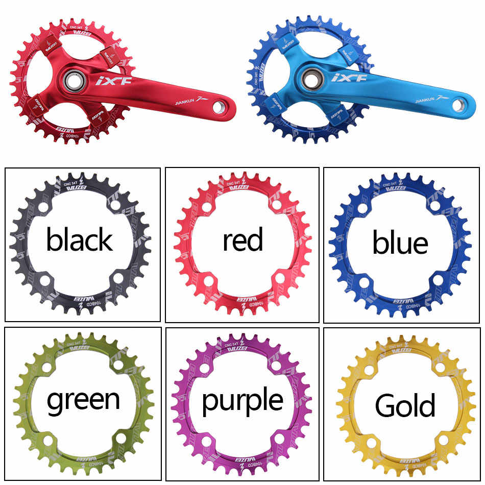 UK 32//34//36//38t 104bcd Narrow Wide Chainring Round Oval Single MTB Bike Chainset