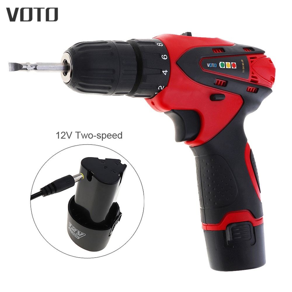 VOTO 12V Electric Screwdriver Drill Lithium Battery Rechargeable Parafusadeira With Two-speed Adjustment And AC 100-240V Cordles