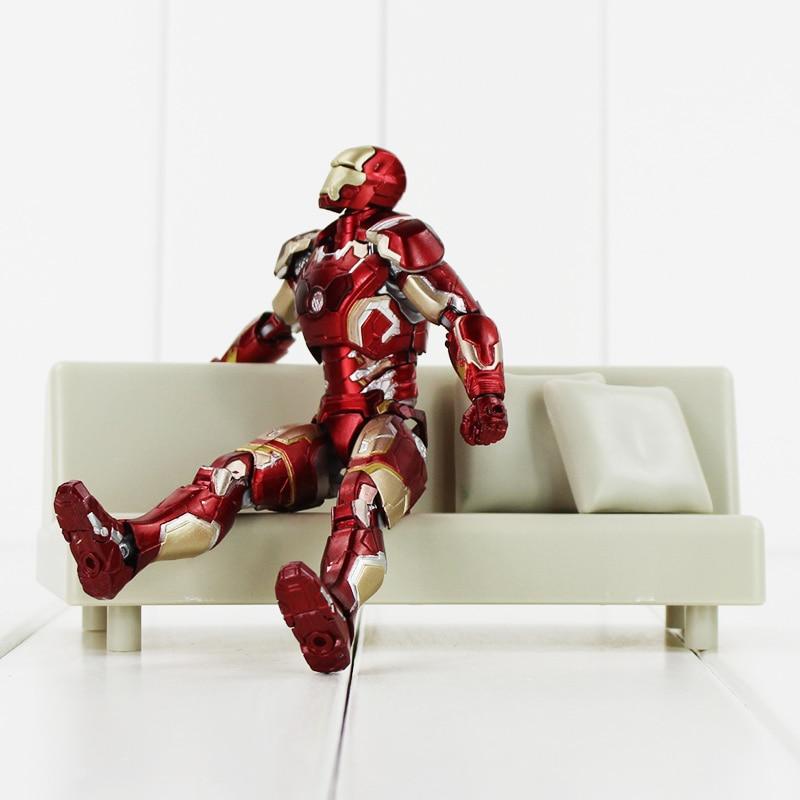 Apprehensive 17cm 1set Super Heros The Avengers Iron Man Shf S.h.figuarts Iron Man Mark 43 With Tonys Sofa Pvc Action Figure Model Toys Doll Toys & Hobbies