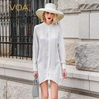 VOA белая шелковая блузка для офиса женские топы Основные Для женщин рубашка Элегантная одежда осень с длинным рукавом изысканной роскоши ...