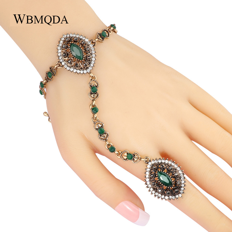 Bracelet Link-Ring Wedding Jewelry Christmas-Gifts Gold Green-Stone Vintage Bohemian