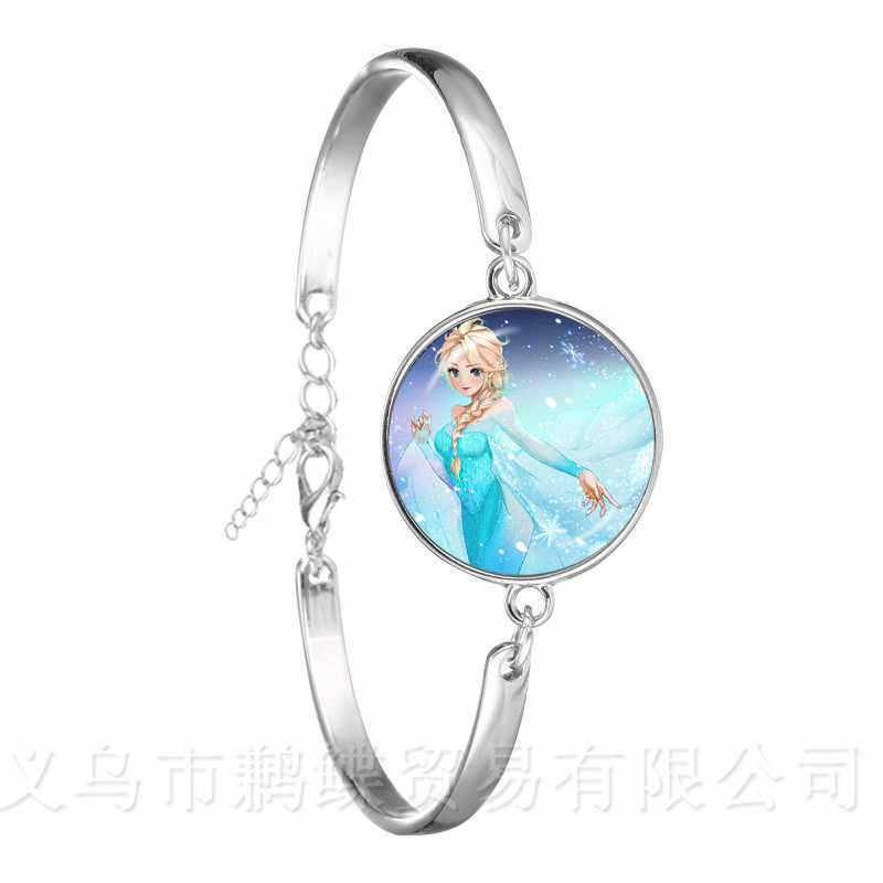 Dreamy Snow Queen Bracelet Elsa Anna Fairy Princess Glass Cabochon Silver Plated Bangle For Women Men Customizable