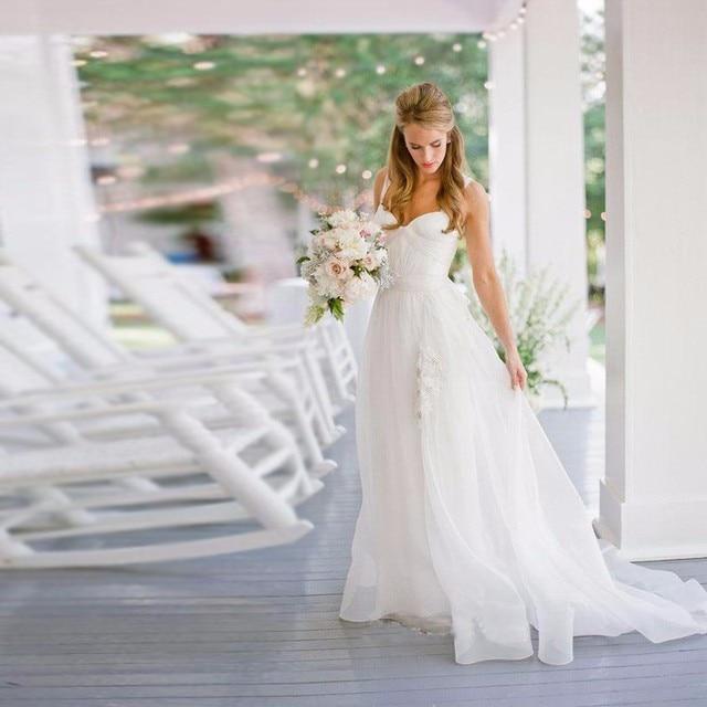Princesse одеяние Mariage Rouge Простые Свадебные Платья Pleat Лонг-Бич Свадебные Платья Белый Женщины Свадебные Платья Дешевые