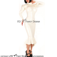 Белое сексуальное латексное платье с молниями на спине пышные рукава резиновое платье Bodycon Playsuit LYQ-0140