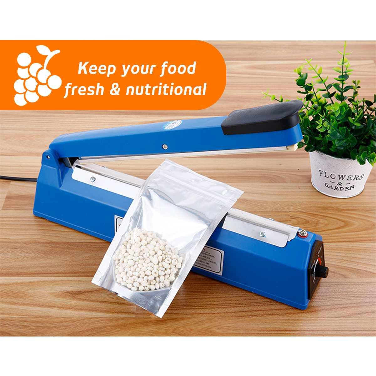 300W 220V Impulse Heat Sealer 8 Mode Plastic Bag Film Sealing Machine Metal 200mm