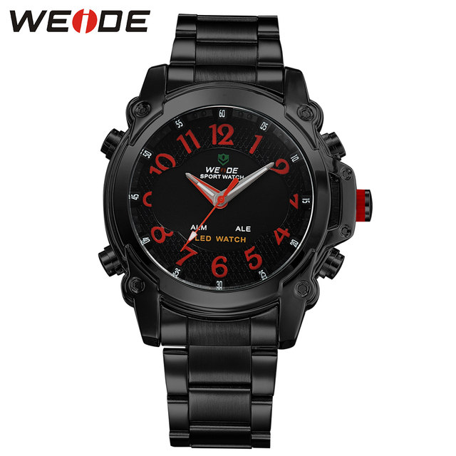 WEIDE Brand Outdoor Men Wristwatches 3ATM Water Resistance Analog Digital Watch Black Color Christmas Gift Relogios Masculinos