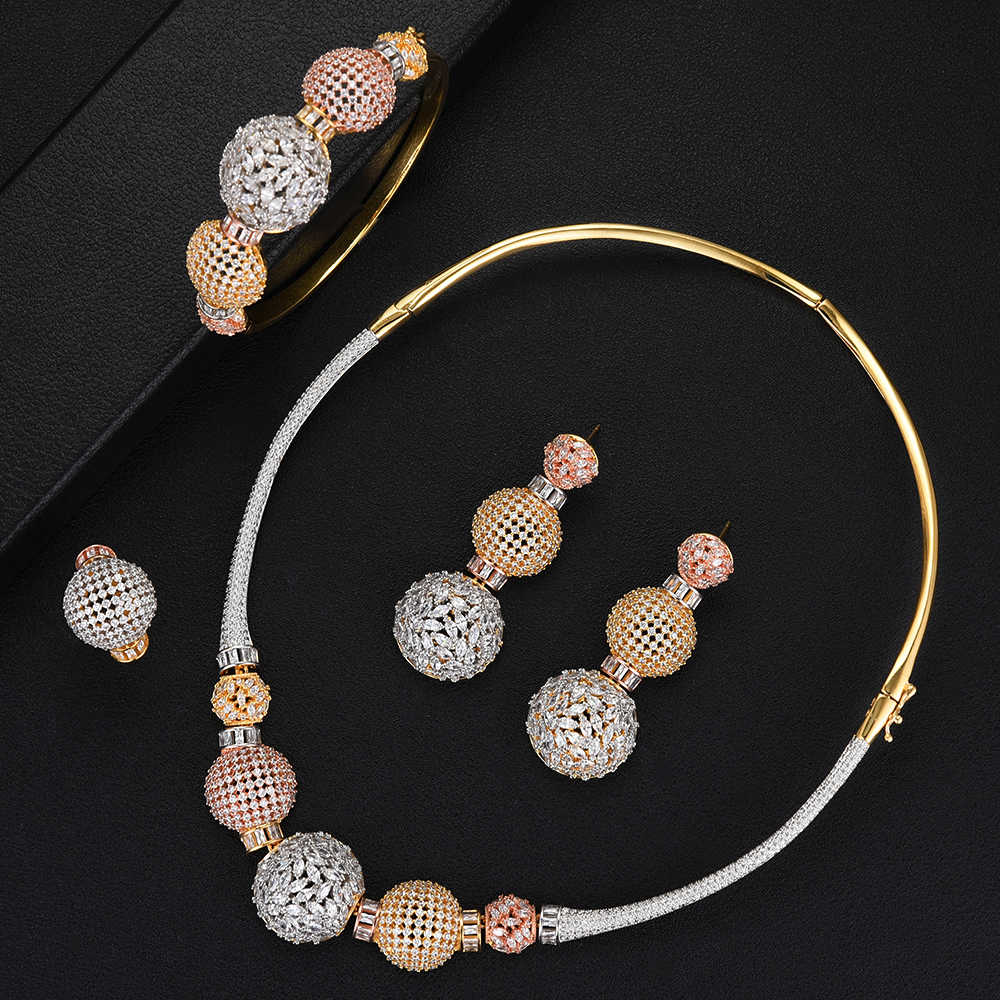 GODKI Luxury Ball Chain Nigerian Statement Jewelry sets For Women Wedding Cubic Zircon CZ Dubai Gold Bridal Jewelry Set 2019