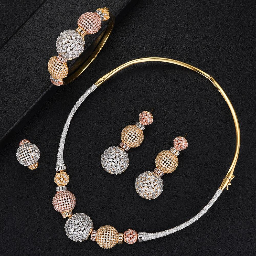 GODKI luxe boule chaîne nigérian déclaration ensembles de bijoux pour les femmes de mariage cubique Zircon CZ Dubai or bijoux de mariée ensemble 2019
