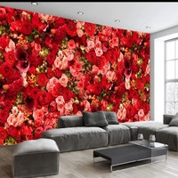 Dropship Colomac Flower Wallpaper Bedroom Wallpaper Red Rose Sea Bouquet Theme Living Room Wall Mural Fotomurales Para Pared