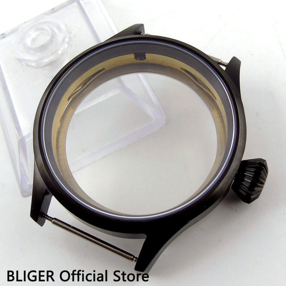 BLIGER 43MM Stainless Steel PVD Coated Sapphire Glass Watch Case Fit For ETA 6497 6498 Hand Winding Movement C8 p style for bmw f32 spoiler carbon fiber material 4 series coupe f32 carbon spoiler 2 door carbon wings 2014 2015 2016 up