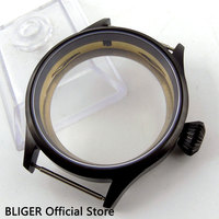 BLIGER 43MM Stainless Steel PVD Coated Watch Case Sapphire Glass Transparent bottom Fit For ETA 6497 6498 Hand Winding Movement