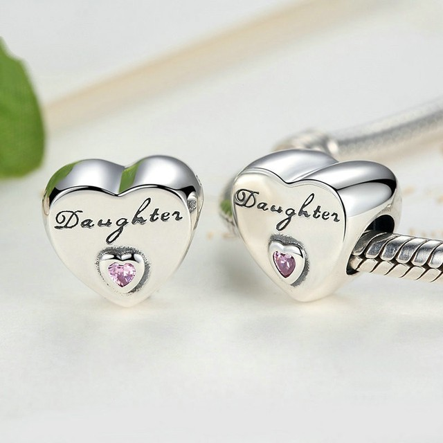c92aed7a304 Authentic 925 Sterling Silver Daughter s Love Charm Pink CZ Bead fit  European Beads Charms Pandora Bracelets Jewelry