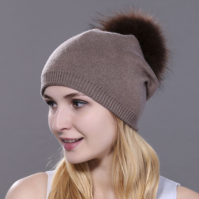 Winter women real fur pom pom hats wool knitted thick warm lined beanies hat  lady fashion bobble ski caps ba49e38a9ef