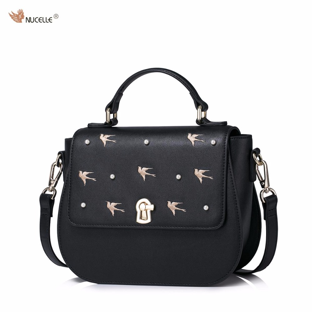 NUCELLE Brand Design Fashion Swallow Embroidery Pearls Nails Lock PU Leather Girls Ladies Women Handbag Shoulder Crossbody Bags