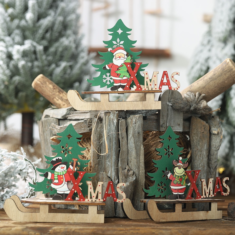 Us 13 40 Offchristmas Wooden Diy Santa Clause Sleigh Ornaments Cartoon Tree Combination Ornaments New Year Decoration 2019 For Home In Pendant