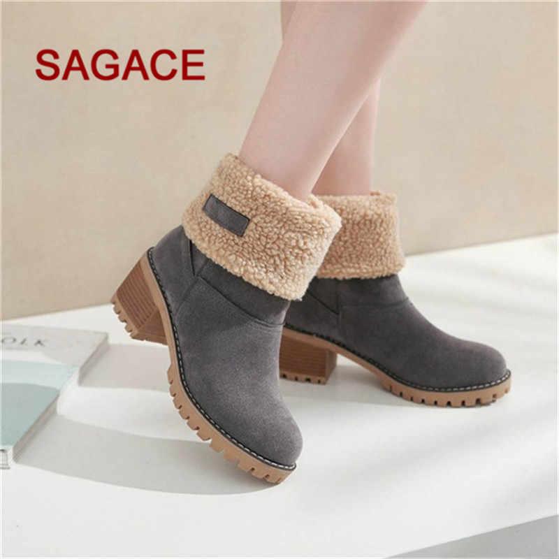 877092e9726 ... HB@SAGACE Women's Boots Ladies Winter Round Toe Shoes Flock Warm  Slip-On Snow