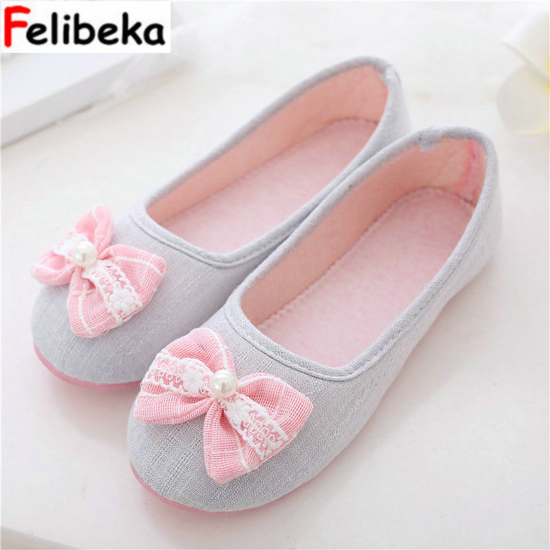 Flower spring Slippers Women Shoes Comfortable Home Casual Bowknot lady adult slippers pink gray indoor shoes women s clogs adult shoes lady