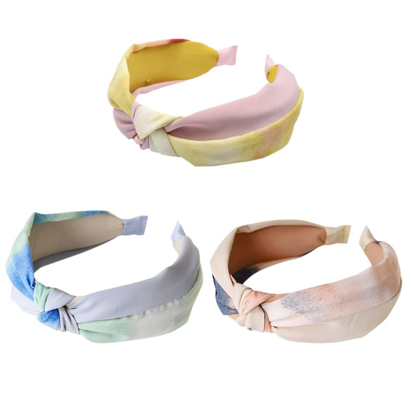 Vintage Fresh Style Pleated Wide Headband Women Girl Sweet Gradient Colorful Tie-Dye Hair Hoop Handmade Bowknot Styling Headwear