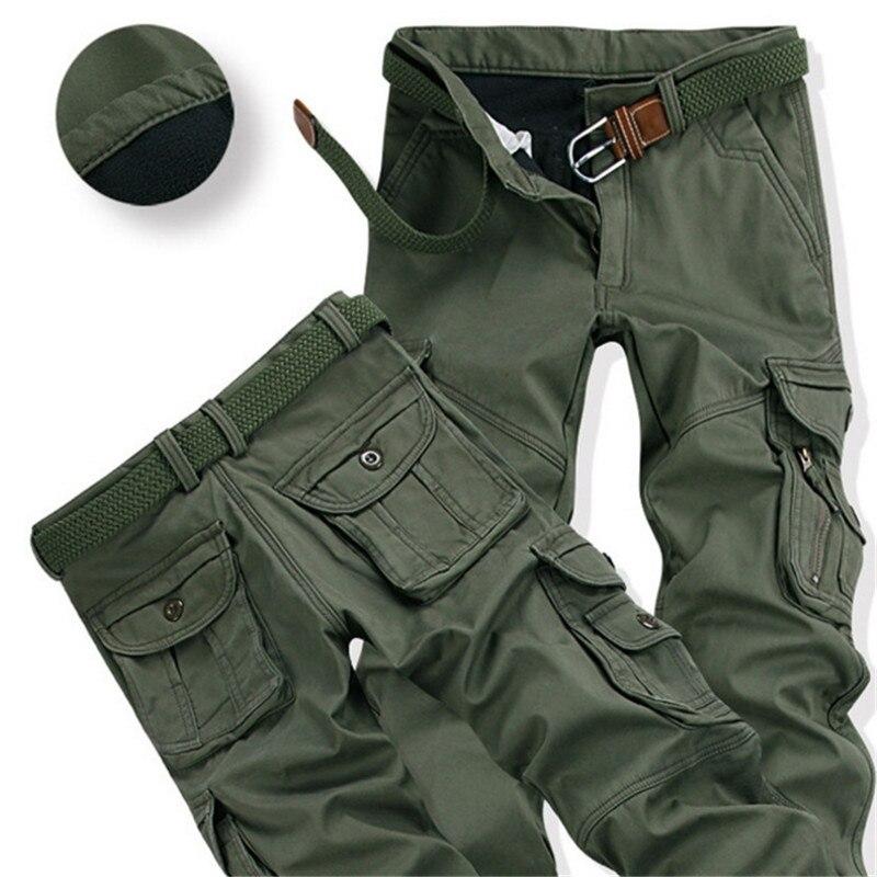 Male Plus Size Fashion Loose Baggy Joger Worker Pant Mens Winter Pants Thick Warm Cargo Pants Casual Fleece Pockets Fur Trouser