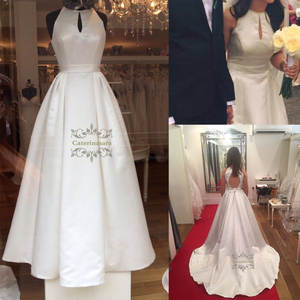 A-Line Jewel Neck Wedding Dresses Floor Length Satin Bride Gowns Keyhole Back with Buttoms Waist Sashes Simple Dress for Girls