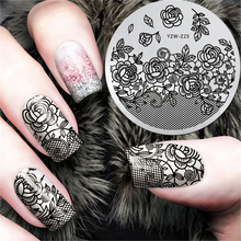 New Black Flower Lace Design Nail Stamping Plates Konad Art Manicure Template Stamp Tools #YZW-Z25