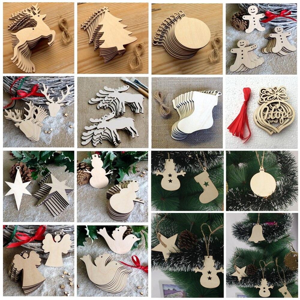 10pcs Wood Snowman Elk Hanging Wooden Christmas Ornaments Christmas For Home Xmas Tree Decor Noel Navidad Merry Christmas 2019,Q