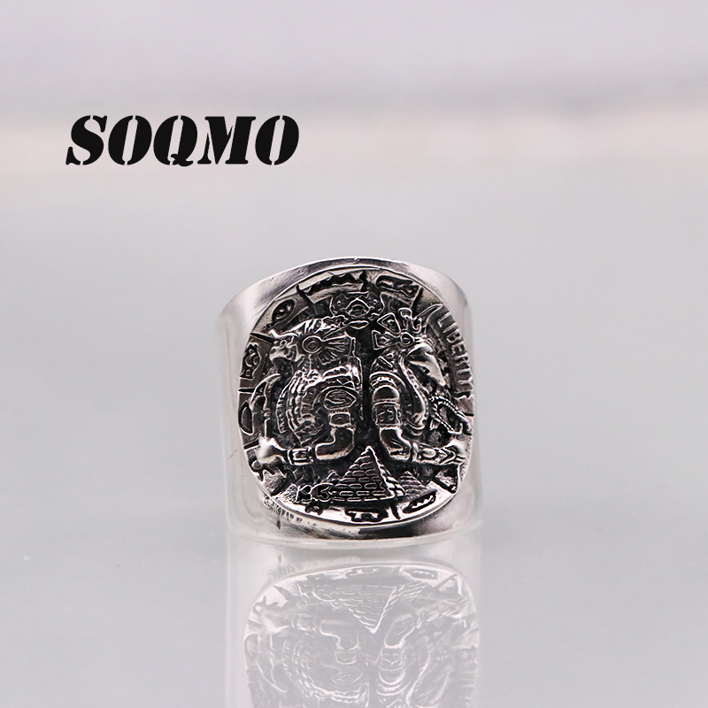SOQMO Punk Opening Ring 100% Real 925 Sterling Silver Jewelry For Men Women Vintage Ethnic Warrior Adjustable Ring 2018 Arrival bestlybuy vintage ring 100% real 925 sterling silver classic cross natural stone adjustable joint ring women men jewelry