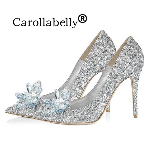 2018 Rhinestone Cinderella Shoes Women Pumps Pointed toe Woman Crystal  Wedding Shoes Gold 7cmand 9cm heel Genuine Leather Inside c756003bbb82