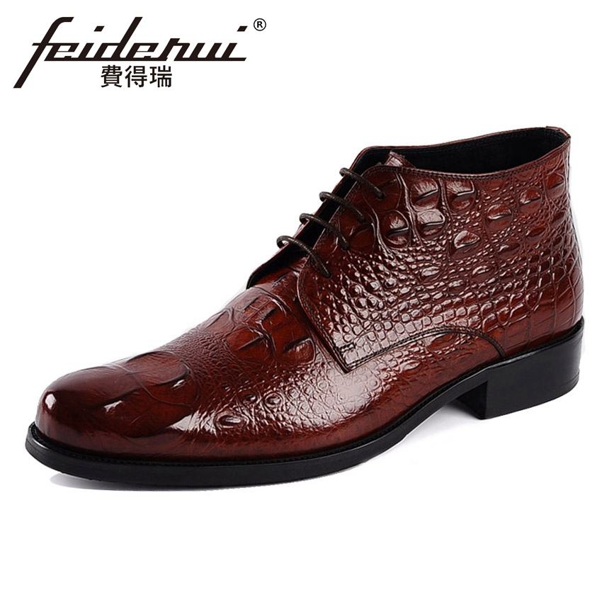 Winter Genuine Leather Men's Martin Ankle Boots Alligator Round Toe Lace-up Handmade Cowboy Riding Man Formal Dress Shoes YMX39 new arrival luxury genuine leather men s handmade ankle boots round toe lace up alligator cowboy riding shoes for man hms84