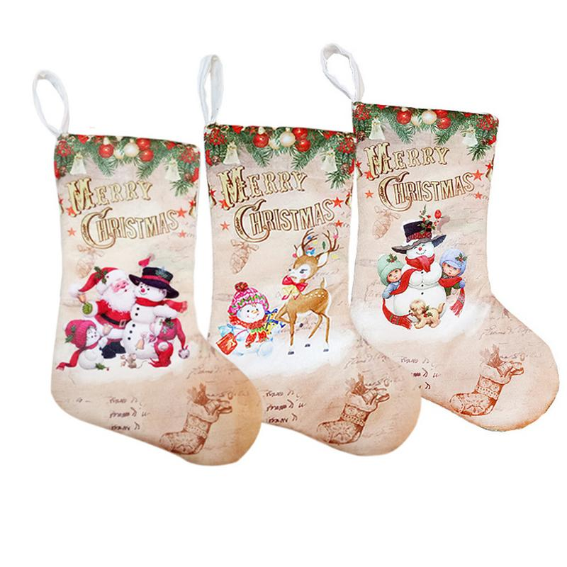 Christmas Stockings Pendant Cloth Ornaments Small Boots Pendant Christmas Pattern Print Party Home Decoration Supplies Gift Bag-in Stockings & Gift Holders from Home & Garden