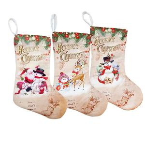 Image 1 - Christmas Stockings Pendant Cloth Ornaments Small Boots Pendant Christmas Pattern Print Party Home Decoration Supplies Gift Bag