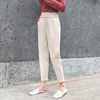 2017 prawdziwy zastrzyk damska zimowa grube stałe haren spodnie długości kobiet kostki elastyczna wysokiej talii plisowana wełniane spodnie na co dzień