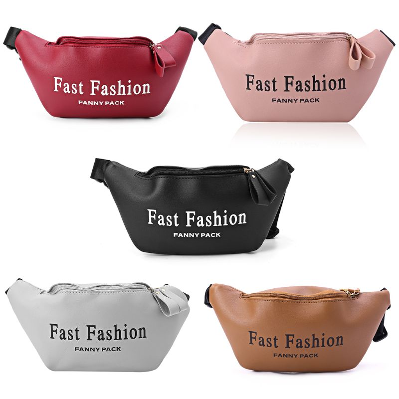PU Letters Waist Hip Pack Phone Pouch Fanny Women Travel Chest Belt Shoulder Bag Fashion Handbag