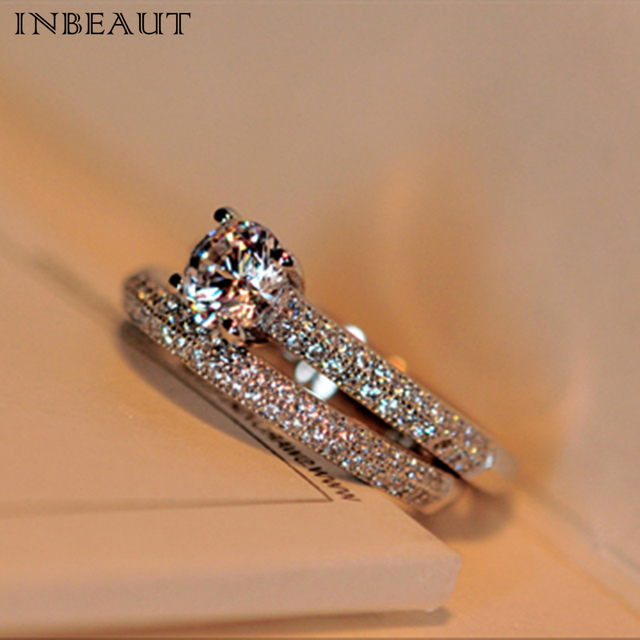 INBEAUT Hot Sale 2 Pcs Sparkling Zircon Rings for Women New Trendy 925 Silver St