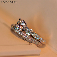 INBEAUT Women Trendy 925 Silver Double Zircon Stone Wedding Rings Set Female CZ Engagement Bridal Ring Sets Jewelry Teen Girl