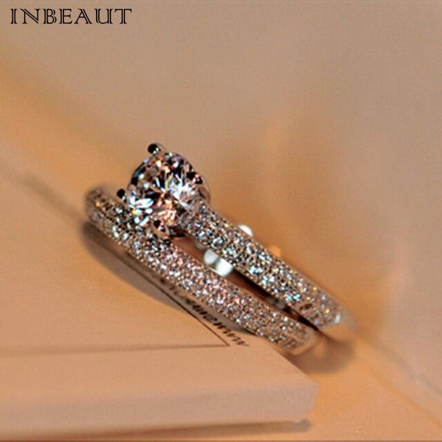 inbeaut women trendy 925 silver double zircon stone wedding rings set female cz engagement bridal ring - Cz Wedding Rings