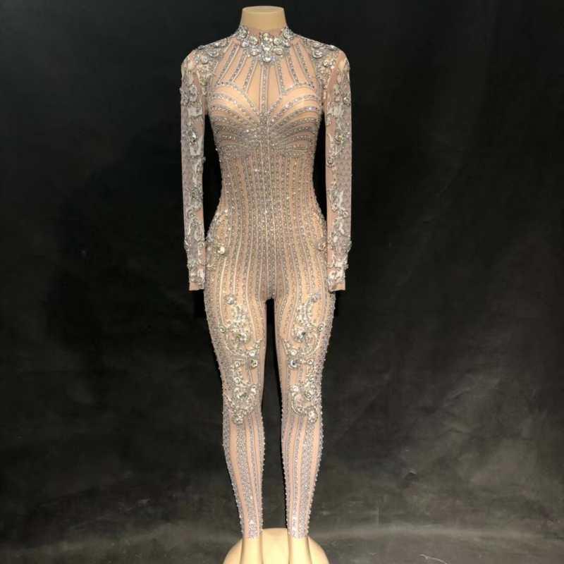 Серебряный Блестящий Комбинезон со стразами, боди, декорированное камнями, женская одежда для празднования вечеринок, роскошный костюм, Од
