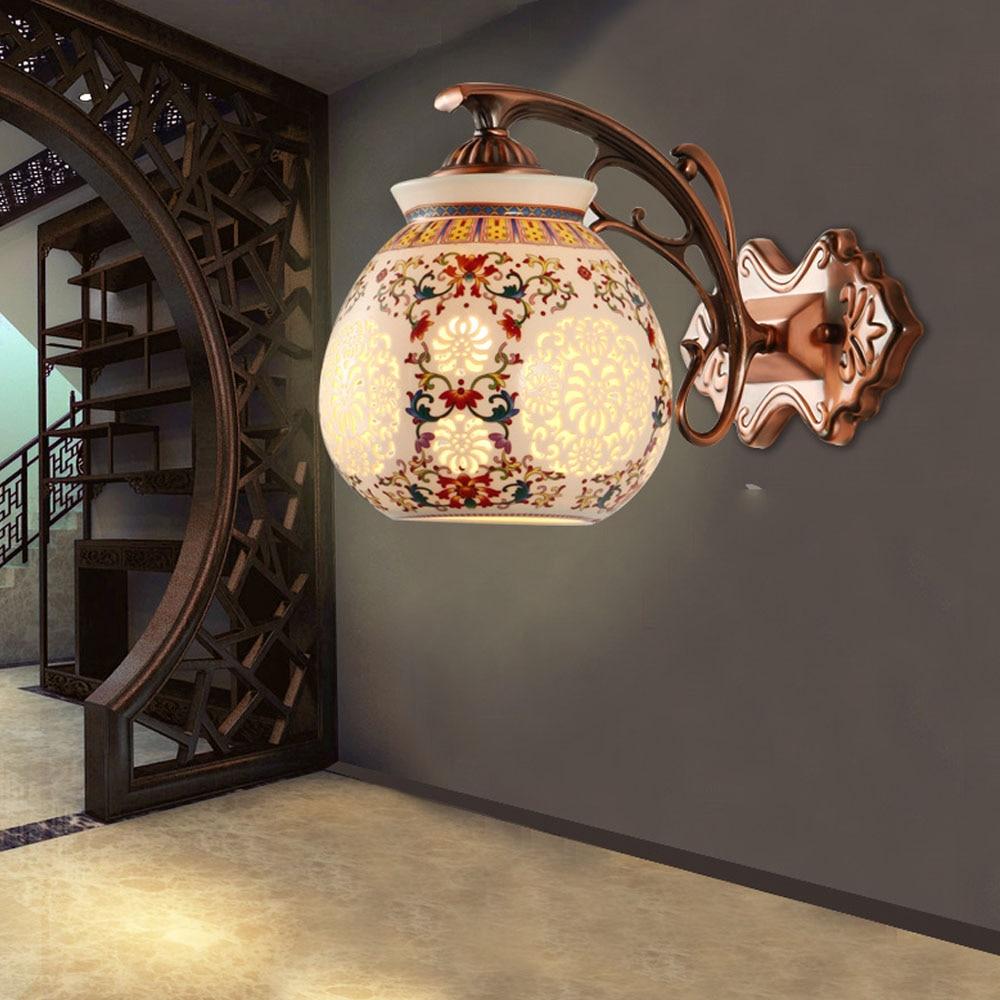 ФОТО Chinese Ceramic Modern Sconce Wall Lights 110V ~ 220v Led Living Room Lights Contemporary Indoor Lighting Vintage Wall Lamp