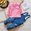 2016 new spa girls clothing cowboy coat jeans trousers + shirt sleeve two-piece full of children clothes