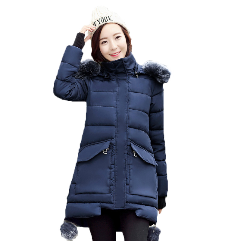 ФОТО 2016 winter hooded down jacket women cotton coat thicken loose medium long down cotton outerwear faux fur collar coat kp0844