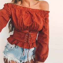 High Street Womens Tops and Blouses Lace up Satin Corset Blouse Lantern Sleeve Women Off Shoulder Top Corset Shirt Blusa Mujer(China)