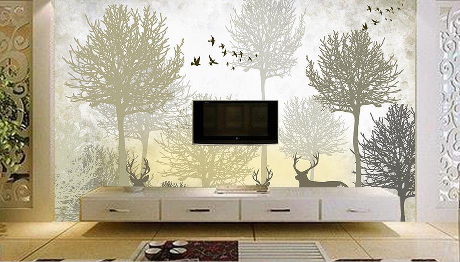 Custom 3d Photo Wallpaper Non-woven Bedroom Kids Room TV Sofa Backdrop Wall paper Tree deer 3d Wall Murals Wallpaper Home Decor custom photo 3d ceiling murals wall paper blue sky rose flower dove room decor painting 3d wall murals wallpaper for walls 3 d