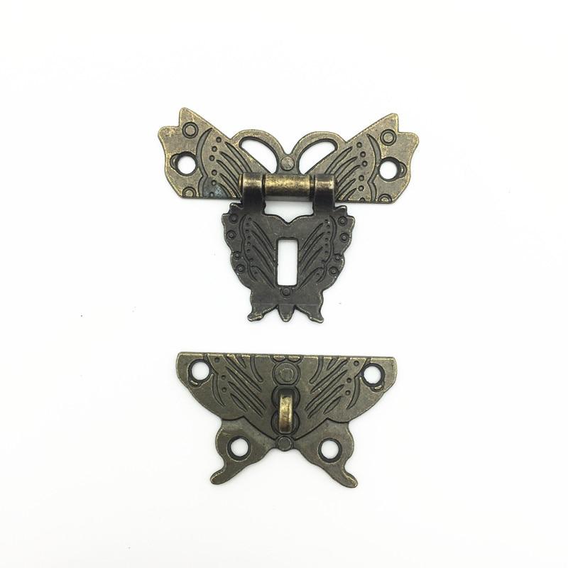 50*43mm Butterfly Design Antique Bronze Hasp Latch Jewelry Wooden Box Lock